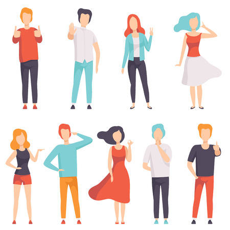 People showing different gestures set, , faceless men and women characters gesturing vector Illustration on a white background