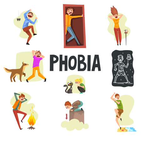 People suffering from various phobias set, arachnophobia, claustrophobia, musophobia, cynophobia, nyctophobia, pyrophobia, ailurophobia, acrophobia, hydrophobia vector Illustrations isolated on a white background.