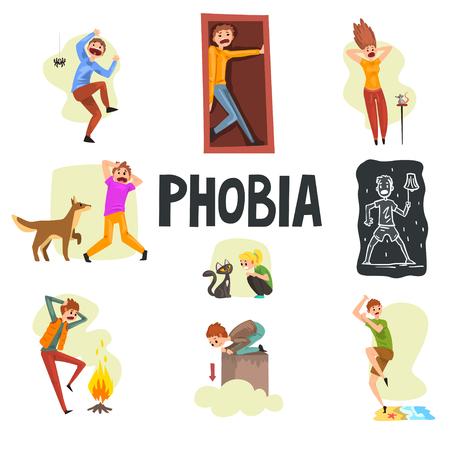Personas que sufren de diversas fobias, aracnofobia, claustrofobia, musofobia, cinofobia, nictofobia, pirofobia, ailurofobia, acrofobia, hidrofobia ilustraciones vectoriales aisladas sobre fondo blanco.