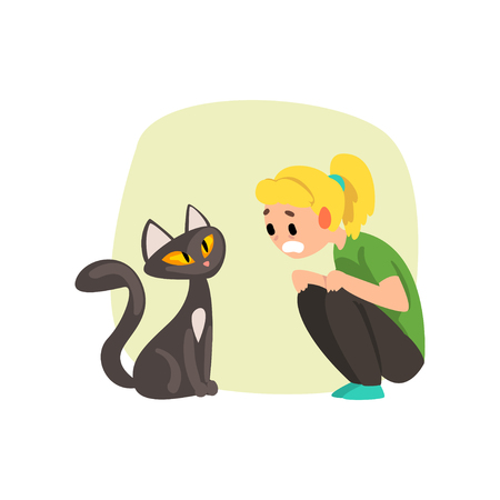Girl frightened by cat, girl suffering from ailurophobia, human fear concept vector Illustration isolated on a white background.