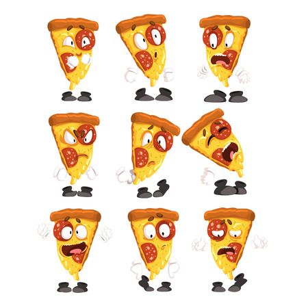 Cute funny slice of pizza with different emotions set, humanized cartoon fast food character vector Illustrations isolated on a white background.