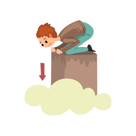 Hombre que sufre de acrofobia, chico siente miedo a las alturas, vector de concepto de miedo humano ilustración aislada sobre fondo blanco. Ilustración de vector