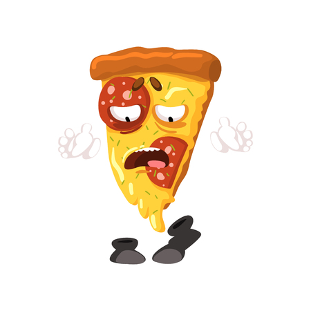 Funny slice of pizza cartoon fast food character vector Illustration isolated on a white background. Ilustração