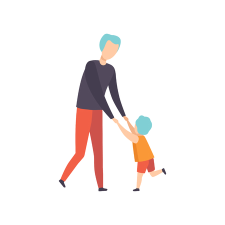 Boy and his dad dancing holding hands, son having fun with his father vector Illustration isolated on a white background. Banque d'images - 111720246
