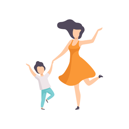 Mom and son dancing holding hands, kid having fun with her mother vector Illustration isolated on a white background.