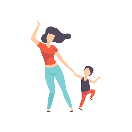 Mom and son dancing, kid having fun with her mother vector Illustration isolated on a white background.  イラスト・ベクター素材