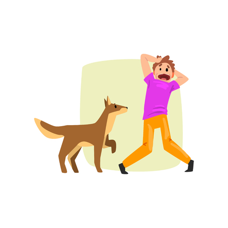 Man frightened by dog, guy suffering from cynophobia, human fear concept vector Illustration isolated on a white background.