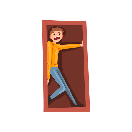 Man suffering from claustrophobia, human fear concept vector Illustration isolated on a white background.