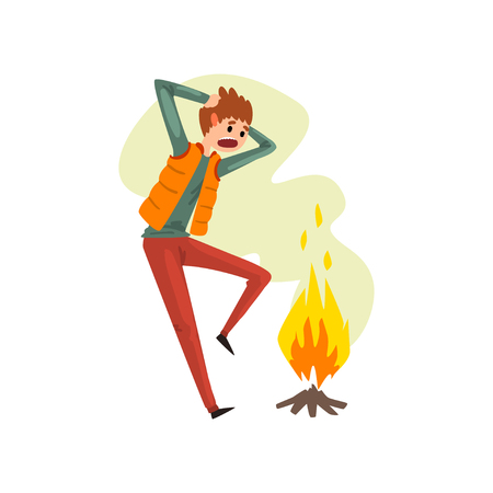 Man suffering from pyrophobia, irrational fear of fire, human fear concept vector Illustration isolated on a white background. Ilustração