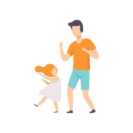 Daughter and dad dancing, little girl having fun with her father vector Illustration isolated on a white background. Illustration