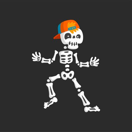 Creepy skeleton character in baseball cap dancing rap vector Illustration on a black background. Illustration