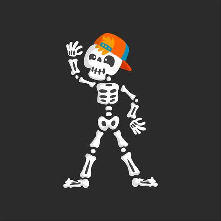 Creepy skeleton character in baseball cap dancing vector Illustration on a black background.
