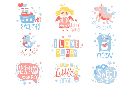 Baby Nursery Room Print Design Templates Set In Cute Girly Manner With Text Messages. Vector Labels With Quotes Series Of Childish Posters For Toddler. Ilustração