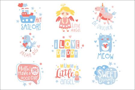 Babykamer print ontwerpsjablonen instellen op schattige girly manier met tekstberichten. Vectoretiketten met citatenreeks kinderachtige posters voor peuters.
