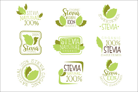 Stevia Natural Food Sweetener Additive And Sugar Substitute Set Of Green Color  Design Templates With Plant Leaves