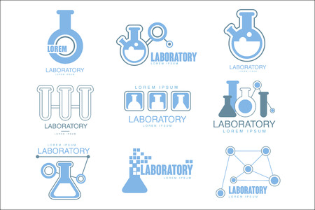 Chemical Laboratory Facility  Graphic Design Templates Set In Light Blue Color With Test Tubes Silhouettes