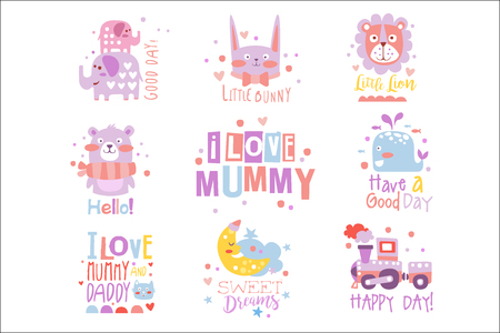 Baby Nursery Room Print Design Templates Collection In Cute Girly Manner With Text Messages. Vector Labels With Quotes Series Of Childish Posters For Toddler.