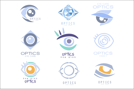 Kids Optics Clinic And Ophthalmology Cabinet Set Of Label Templates In Different Creative Styles And Light Blue Shades Ilustração