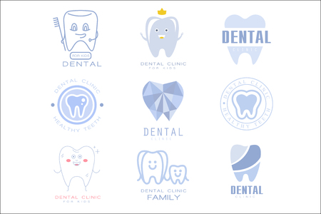 Kids Dental Clinic And Dentist Cabinet Set Of Label Templates In Different Creative Styles And Light Blue Shades Ilustração