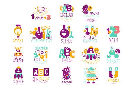 Kids Science Education Extra Curriculum Club-Vorlagen im bunten Cartoon-Stil mit lächelnden Charakteren