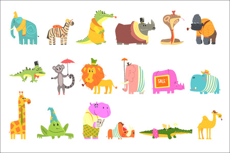 African Animals With Human Attributes And Clothing Set Of Comic Cartoon Characters. Jungle Wild Fauna With Old-School Accessories Vector Colorful Illustrations  イラスト・ベクター素材