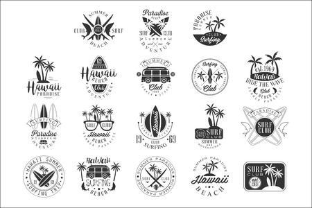 Hawaiian Beach Surfing Vacation Black And White Sign Design Templates With Text And Tools Silhouettes