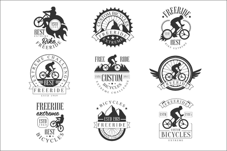 Custom Made Free Ride Bike Shop Black And White Sign Design Templates With Text And Tools Silhouettes Illustration