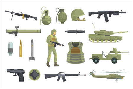 Professional Army Infantry Forces Weapons, Transportation And Soldier Equipment Set Of Realistic Objects In Khaki Color. Military Ammunition, Armor, Guns And Other Inventory For Modern Assault. Illustration