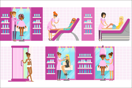 Women In Beauty Salon Enjoying Hair And Skincare Treatments And Cosmetic Procedures With Professional Cosmetologists. Set Of Beauty Parlor Cartoon Illustrations With Smiling Happy Clients.