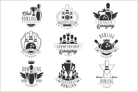 Bowling League Tournament Black And White Sign Design Templates With Text And Tools Silhouettes Ilustrace