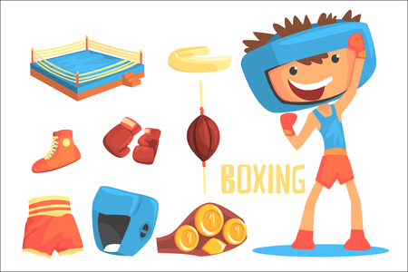 Boy Boxer, Kids Future Dream Professional Boxing Sportive Career Illustration With Related To Profession Objects. Smiling Child Carton Character With Sports Attributes Around Cute Vector Drawing.