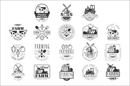 Modèles de conception de signe noir et blanc de produits de ferme biologique avec des silhouettes de texte et d'outils Vecteurs