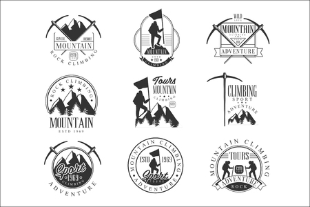 Mountain Climbing Extreme Adventure Tour Black And White Sign Design Templates With Text And Tools Silhouettes Ilustrace