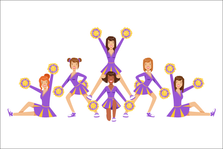 High-School Profession Cheerleading Teams Of Girls Cheerleaders On Final Pyramid Stand Posing With Pompoms. Football Support Female Gymnast Team In Cheerleading Uniform Vector Illustration