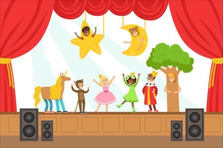 Bambini attori che eseguono fiabe sul palco su Talent Show colorato illustrazione vettoriale con talentuosi Schoolkids Theatre Performance. Bambini felici che mostrano i loro talenti artistici in spettacolo Vettoriali