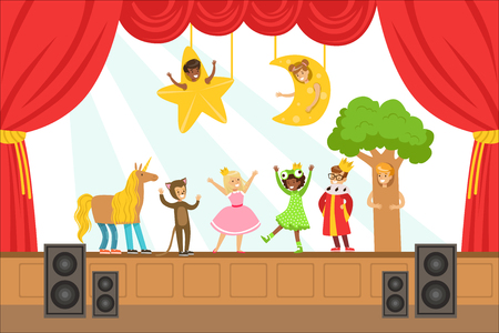 Children Actors Performing Fairy-Tale On Stage On Talent Show Colorful Vector Illustration With Talented Schoolkids Theatre Performance. Happy Kids Showing Their Artistic Talents In Show Vettoriali