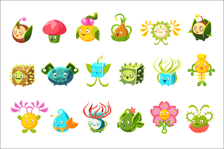 Childish Alien Fantastic Alive Plants Emoji Characters Collection Of Vector Fantasy Vegetation. Fantasy Creatures With Friendly Faces Bright Color Cartoon Illustrations.
