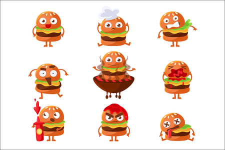 Burger Fast Food Sandwich Cartoon Humanized Character Emoji Sticker Set Of Vector Illustrations. Street Food Hamburger With Different Facial Expressions Colorful Emoticons.