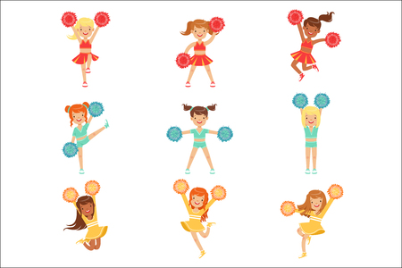 Primary School Little Girls In Cheerleaders Uniform Cheering And Cheerleading With Pompoms Set Of Happy Kids Cartoon Characters. Football Support Female Gymnast Team In Cheerleading Uniform Vector Illustration