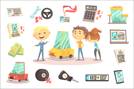 Car Dealership Firm Professional Dealer Selling The Vehicle To The Young Couple Illustration With Different Car Dealing Icons Around. Funny Cartoon Characters Buying The Automobile With Shop Assistant Help.