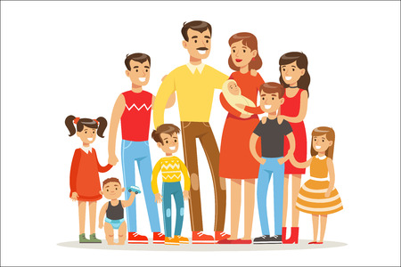 Happy Big Caucasian Family With Many Children Portrait With All The Kids And Babies And Tired Parents Colorful 向量圖像