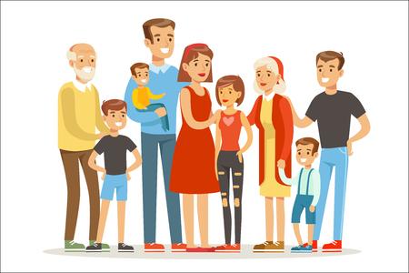 Felice grande famiglia caucasica con molti bambini ritratto con tutti i bambini e neonati e genitori stanchi colorati Vettoriali