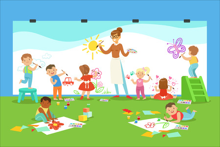 Young Children In Art Class Drawing And Painting With Teacher In A Nursery School. Little Boys And Girls In Preschool Class With Adult Person Teaching Them While Entertaining Vector Cartoon Illustration.