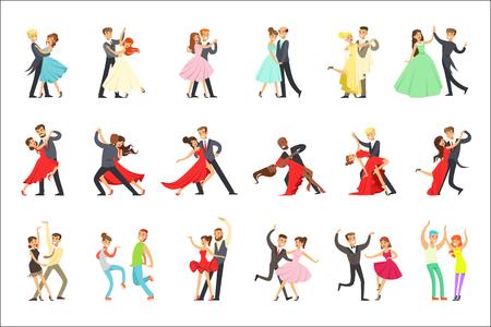 Professionelle Tänzer paar tanzen Tango, Walzer und andere Tänze auf Tanzwettbewerb Dancefloor Set. Cartoon-Figuren, die eine gute Zeit im Club oder auf der Meisterschaft haben, tanzen aus Vektor-Illustrationen.