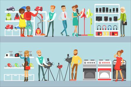 Des gens heureux dans un magasin d'électronique faisant leurs achats d'équipements domestiques en choisissant avec un assistant de magasin aide l'ensemble de personnages de dessins animés. Clients et vendeurs de supermarchés achetant des appareils ménagers et autres illustrations vectorielles électroniques.