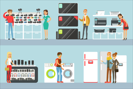 Happy People In Electronic Store Shopping For Domestic Equipment Choosing With Shop Assistant Help Set Of Cartoon Characters. Supermarket Customers And Sellers Buying Home Appliances And Other Electronics Vector Illustrations.