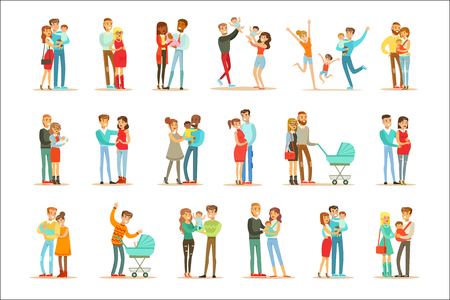 Young And Expecting Parents With Small Babies And Toddlers Set Of Happy Full Family Portraits. Smiling Cartoon Characters, Mom, Dad And Infants Together Vector Illustrations.