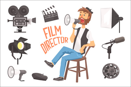 Film Director Sitting With Megaphone Controlling Movie Shooting Process Surrounded By Moviemaking Set Of Objects. Cartoon Vector Illustration With Hollywood Movie Maker Guiding The Shoot. Illustration