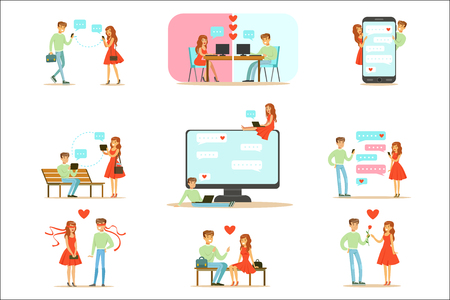 Menschen finden Liebe und Dating mit Dating-Websites und App auf Smartphones und Computern Infografik Illustration. Zeichentrickfiguren paaren sich auf Termine und kommunizieren online durch Nachrichten und Texte.