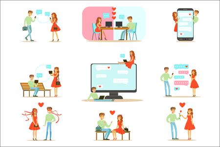 Personas que encuentran el amor y las citas utilizando sitios web de citas y aplicaciones en teléfonos inteligentes y computadoras Ilustración infográfica. Personajes de dibujos animados se juntan en fechas y se comunican en línea a través de mensajes y textos.